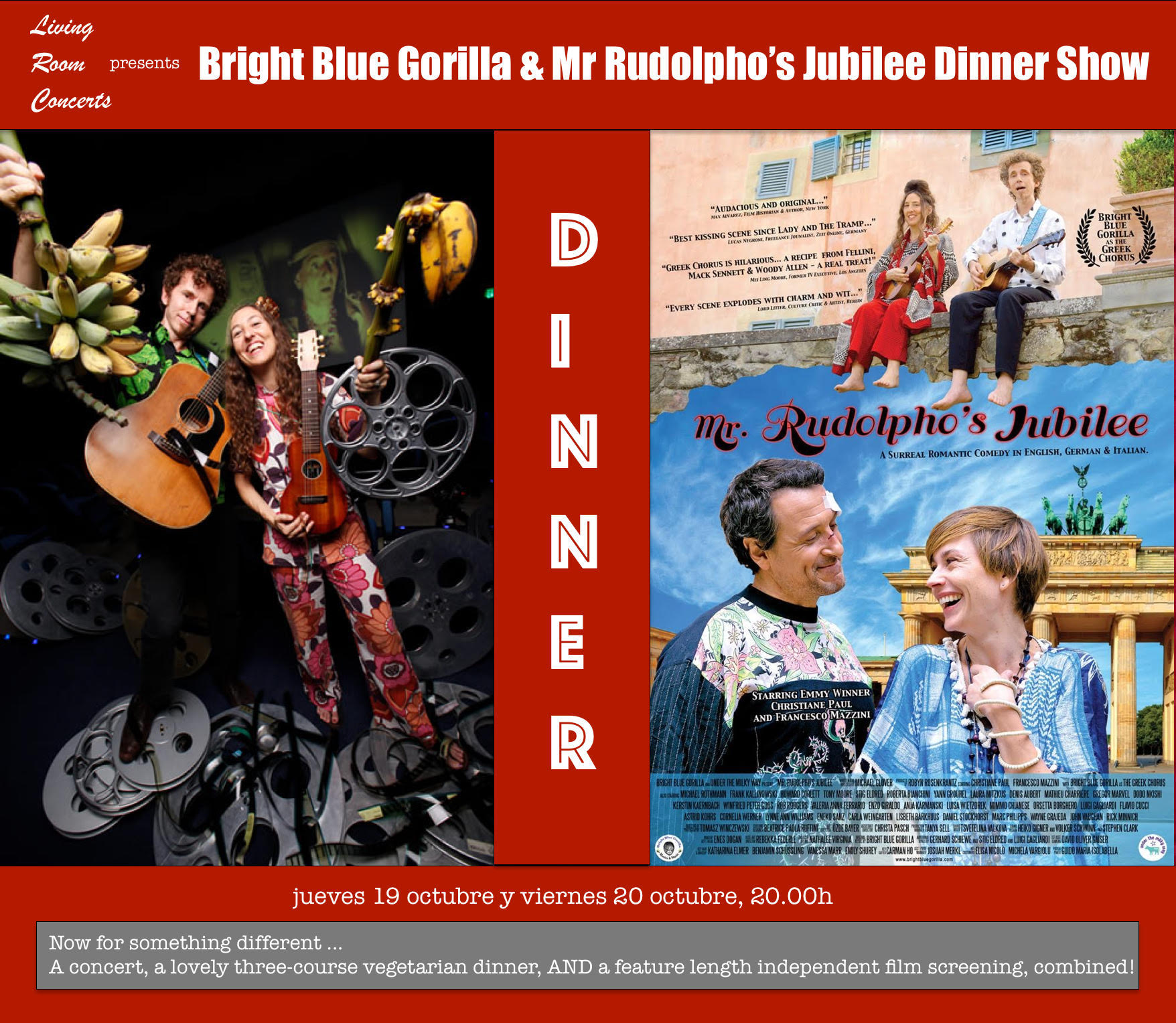 20 October - LRC presents Bright Blue Gorilla & Mr. Rudolpho's Jubilee Dinner Show