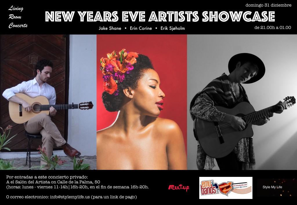 31 December - New Year's Eve Artists Showcase: Jake Shane, Erin Corine, Erik Sjøholm - Living Room Concerts