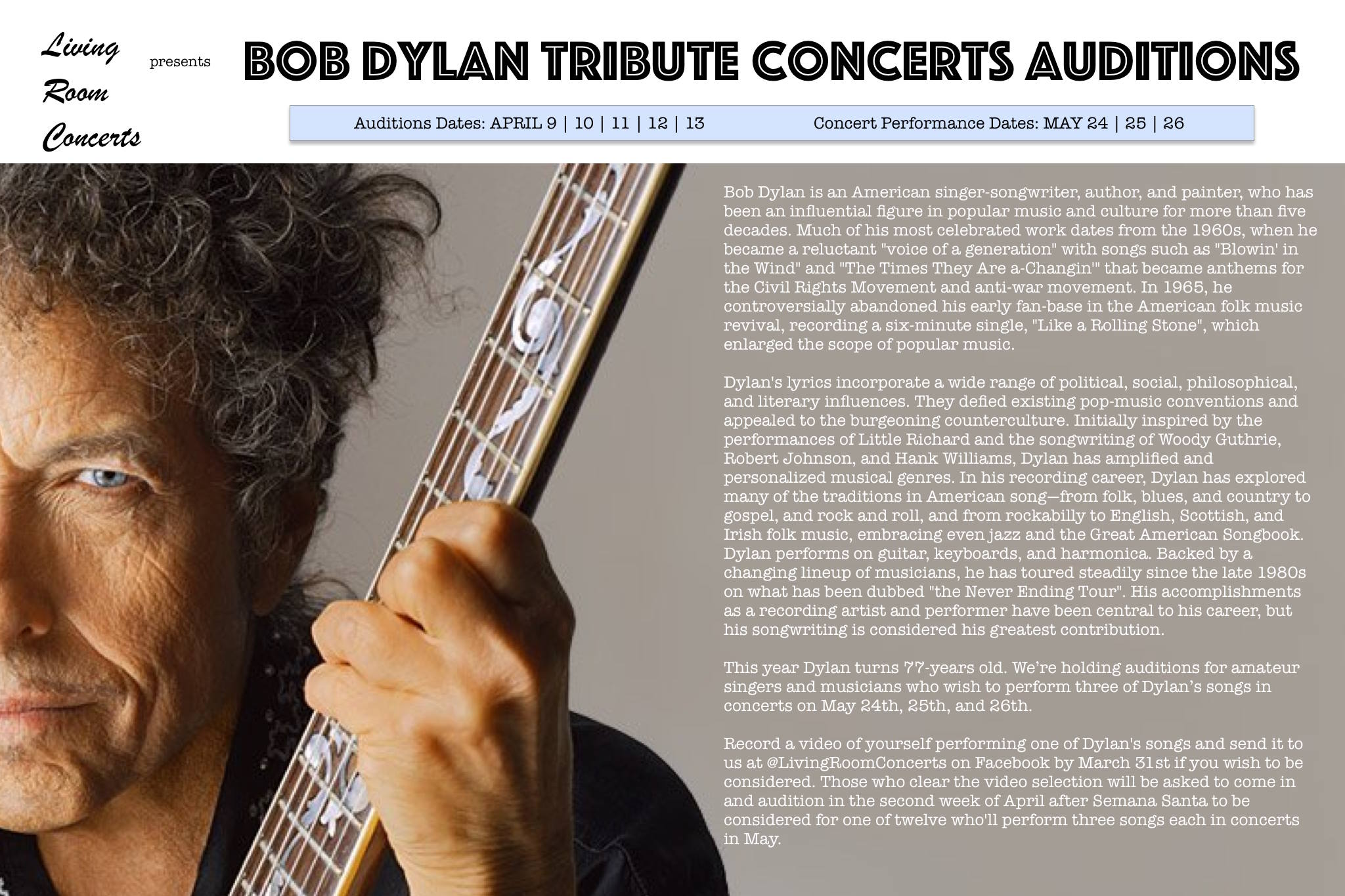 15 Feb to 31 Mar - LRC presents Bob Dylan Tribute Concerts Auditions